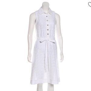 D&G White Lace Midi Dress Collar Sleeveless